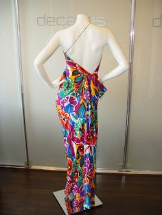 Oscar de la Renta Vibrant Tropical Print Evening Gown with Plunging Back and Jeweled Detail, c. 1980s
