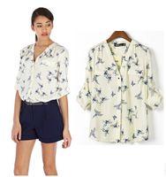 Mel moda borboleta pássaro animal print blusa novas mulheres com mangas compridas folgadas camisa blusas finas Femininas topos v-pescoço