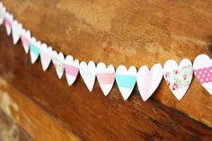 washi tape valentines heart garland by luluthebaker