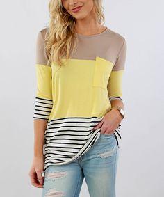 Banana & Mocha Colorblock Stripe Three-Quarter Sleeve Tunic