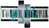 4 Piece Canvas Art, Abstract Oil Painting for Sale, Black and White, Blue Canvas Art, Contemporary Wall Art