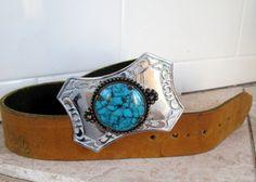Vintage Silver & Turquoise Buckle with Tan Latigo by retrosideshow