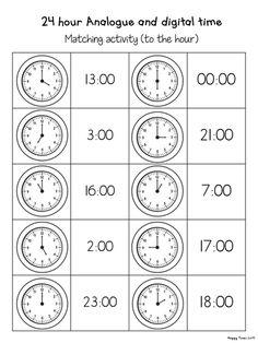 24 Hour Analogue Digital Clock Time Matching Activities