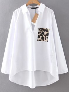 Shop White Dip Hem Blouse With Leopard Pocket online. SheIn offers White Dip Hem Blouse With Leopard Pocket & more to fit your fashionable needs.