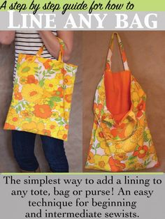 Making a simple tote bag is probably one of the best introductory sewing projects, but where do you go after that? How do you advance your sewing skills but still make a project that won't overwhelm, … Easy Sewing Projects, Sewing Projects For Beginners, Sewing Hacks, Sewing Tutorials, Sewing Tips, Sewing Ideas, Purse Patterns, Sewing Patterns Free, Free Sewing