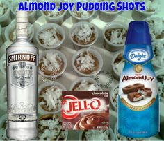 Almond Joy Pudding Shots.  See full recipe and more in the Flavors/Recipe's Photo Album & Time Line on www.facebook.com/puddingshots1 or www.MyPuddingShots.Com