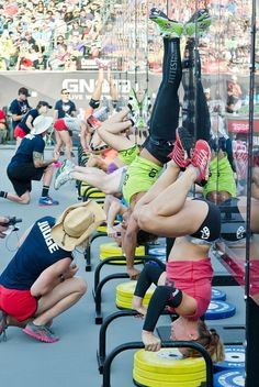 Get better at handstand push-ups, building up strength, getting more consecutive in a row