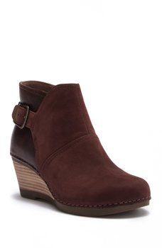 0b75640c776 Dansko - Shirley Nubuck Leather Wedge Bootie Leather Wedges