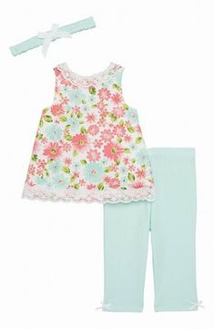 b0d6ec5eefd5 Little Me NEW Blue Baby Girls Size 6 Months Floral Print Outfit Set $32 786  #