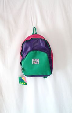 Vintage 90s ROMA KIDS NYC Pleather Backpack Deadstock w/ Tags // Teal Pink Purple Barney Vintage Kids Bag // Babysitter's Club // Clueless by VegaGenesisVintage on Etsy
