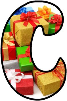 Holiday Fonts, Gift Boxes, Presents, Letters, Gifts, Art, Alphabet, Yule, Letter C