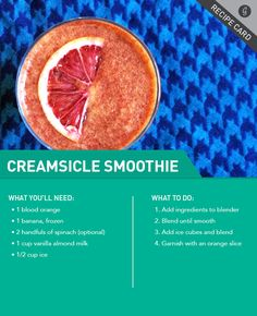 Creamsicle Smoothie #smoothie #creamsicle #recipe http://greatist.com/eat/recipes/creamsicle-smoothie