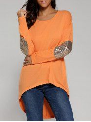 Sequined Elbow High Low Hem Blouse