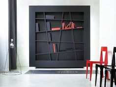 Wall-mounted lacquered  #bookcase LINES by @Ligne Roset    #Design Peter Maly  #books #backlighting #interiors