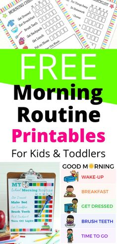 Free morning routine printables for your kids and toddlers to get yourselves back on track. In this roundup, you& find routine cards, charts, and checklists. Pick the one that works best for your family and watch your mornings transform for the better! Morning Routine Printable, Morning Routine Chart, Morning Routine Kids, Morning Routine Checklist, Kids Checklist, Night Routine, Toddler Routine Chart, Daily Routine Chart For Kids, Daily Routine Schedule