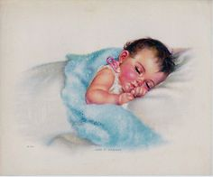 "Vintage Print Sleeping Baby by Charlotte Becker ""Land O Dreams"" Signed 