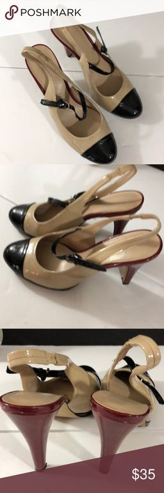 Women's Franco Sarto shoes Beautiful Franco Sarto slingback pump with ankle strap size 9M.  Tan, black and burgundy Franco Sarto Shoes Heels