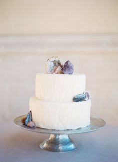 Simple Buttercream Wedding Cake with Raw Gems and Geodes | Taylor Lord Photography | See More! http://heyweddinglady.com/raw-gem-geode-wedding-inspiration/