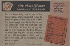 1955 Bowman #269 Joe Amalfitano Back