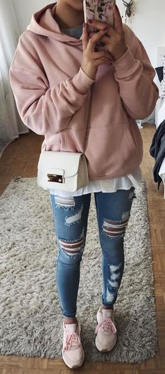 #winter #outfits pink pullover hoodie