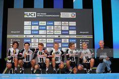 #Bergen2017 90th Road World Championships 2017 / TTT Men Elite Podium / Team Sunweb (GER)/ Tom DUMOULIN (NED)/ Lennard KAMNA (GER)/ Wilco KELDERMAN (NED)/ Soren Kragh ANDERSEN (DEN)/ Michael MATTHEWS (AUS)/ Sam OOMEN (NED)/ Gold Medal Celebration / Ravnanger - Bergen (42,5km) / Team Time Trial / TTT / Bergen / RWC /
