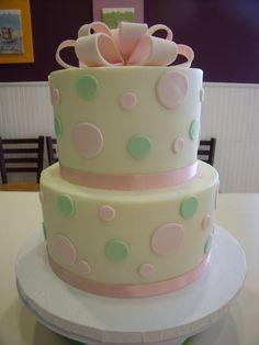 pink and green polka dot cake