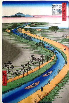 Japanese Ukiyo-e Woodblock print Hiroshige Towboats by UkiyoeSalon