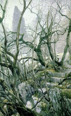 """Alan Lee """"Tol Brandir"""" - """"The little upland lawn was open upon the East and filled now with the early sunlight. Frodo halted and looked out over the River, far below him, to Tol Brandir and the birds wheeling in the great gulf of air between him and the untrodden isle."""""""