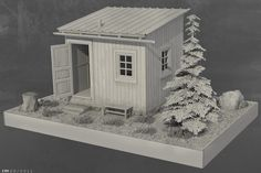 Personal work based on the Hermit Cabin by architect Mats Theselius. WIP: bump map + weathering tests before final render