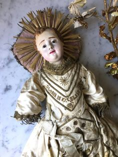 1800s antique infant Jesus with glass eyes, 19th century terra cotta Jesus with glass eyes