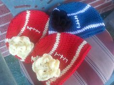 Free Crochet Female Football Team Hat with Flower Pattern