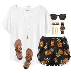 #summer #outfits / shorts + round sunglasses