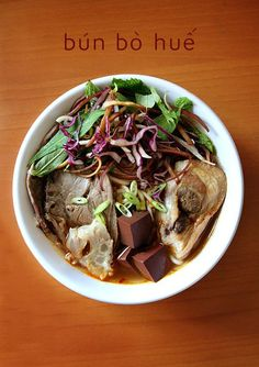 Bún Bò Huế (Spicy Beef Noodle Soup from the Hue region of Vietnam).  It's my Dad's favorite noodle soup.  :)