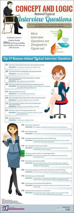 The Logic Behind 19 Common Interview Questions What is the Logic Behind The Most Popular Interview Questions? [INFOGRAPHIC] – CareerAdvisorDaily The Logic Behind 19 Common Interview Questions Typical Interview Questions, Interview Skills, Job Interview Tips, Job Interviews, Interview Questions For Employers, Interview Tips Weaknesses, Interview Weakness Answers, Preparing For An Interview, Greatest Weakness Interview