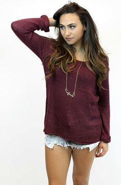 Our favorite sweater is here in burgundy. Perfect #FallSweater! #FallFashion #Sweaters #ShopVamped