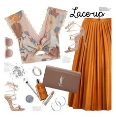 """""""lace-up sandals"""" by jesuisunlapin ❤ liked on Polyvore featuring Dsquared2, Alice McCall, Bobbi Brown Cosmetics, By Malene Birger, Terre Mère, Molton Brown, STELLA McCARTNEY, Yves Saint Laurent and Coco's Liberty"""