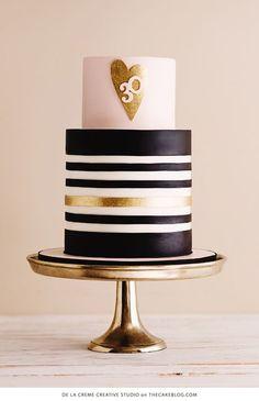 Black And White Striped Birthday Cake Metallic Gold Polka