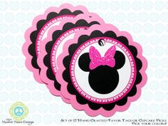 Minnie Mouse 12 Favor Tags or Cupcake Picks  by MasterPeaceDesigns, $20.00