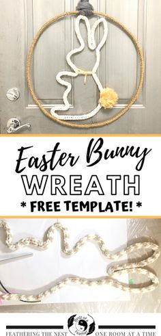 Easter Bunny Wreath: Working with iCord Girls Day Out Ideas, Magnetic Wreath Hanger, Bunny Templates, Super Chunky Yarn, Diy Easter Decorations, I Cord, Feather Crafts, Bunny Crafts, Easter Wreaths