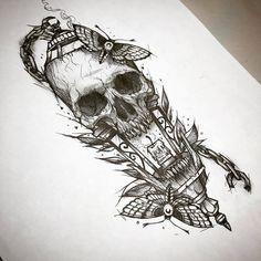 19 Ideas for tattoo sleeve ideas drawings dark – skull tattoo sleeve Tattoos Skull, Leg Tattoos, Body Art Tattoos, Sleeve Tattoos, Cool Tattoos, Tattos, Gothic Tattoo, Dark Tattoo, Tattoo Sketches
