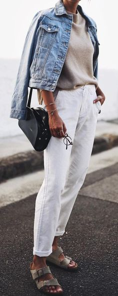 neutral shades spring outfit: denim on denim