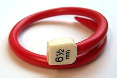 Image of Knitwit Bangle by Liana Kabel Cute Crafts, Yarn Crafts, Recycled Jewelry, Handmade Jewelry, Recycled Art, Knitting Needles, Hand Knitting, Plastic Girl, How To Purl Knit