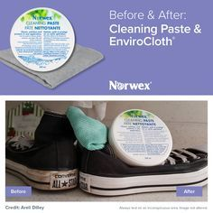 Norwex Before and After Cleaning Paste and Enviro Cloth on Converse Shoes http://www.fastgreenclean.com/2016/08/norwex-before-and-after-photos.html