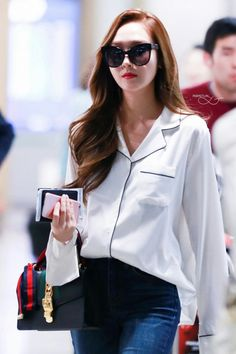 Pajama like top. Jessica Jung At Icheon Airport Back From Beijing. Korean Airport Fashion, Korean Fashion, Kpop Fashion, Jessica Jung Fashion, Jessica Jung Style, Jessica & Krystal, Soyeon, Airport Style, Girls Generation