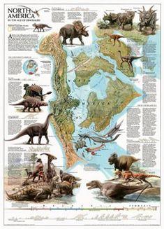 Love in the Time of Chasmosaurs: Vintage Dinosaur Art: Dinosaurs, National Geographic, January 1993 - Free poster bonus! Prehistoric World, Prehistoric Creatures, Dinosaur Fossils, Dinosaur Art, Reptiles, Mammals, Dinosaur Posters, National Geographic Maps, North America Map