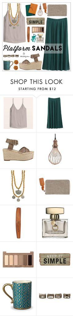 """""""Stand Up! Platform Sandals"""" by trendsbybren ❤ liked on Polyvore featuring NuCasa, The Horse, Rimmel, Gucci, Urban Decay, L'Objet, BaubleBar, Summer, casualoutfit and platforms"""