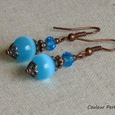 Boucles d 'oreille bleu turquoise bronze