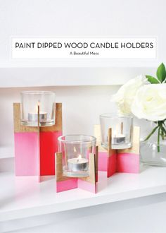 Paint Dipped Wood Candle Holders