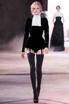 FALL 2013 Ulyana Sergeenko. Sexy couture suspenders. Expensive look for the bedroom..