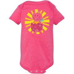 Cute baby Dinosaur in pink on a colorful sunburst Infant Creeper gift for a little girl. $21.99 www.homewiseshopperkids.com